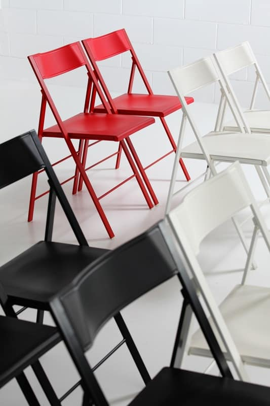 Pocket Coloured, Lightweight Folding Chair, Available In Red, Black And  White Colors