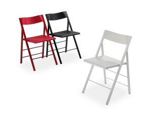 Pocket plastic, Versatile folding chair, metal structure, seat and backrest in coloured polypropylene