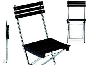 Spring, Space saving chair, in metal and beech, for outdoors