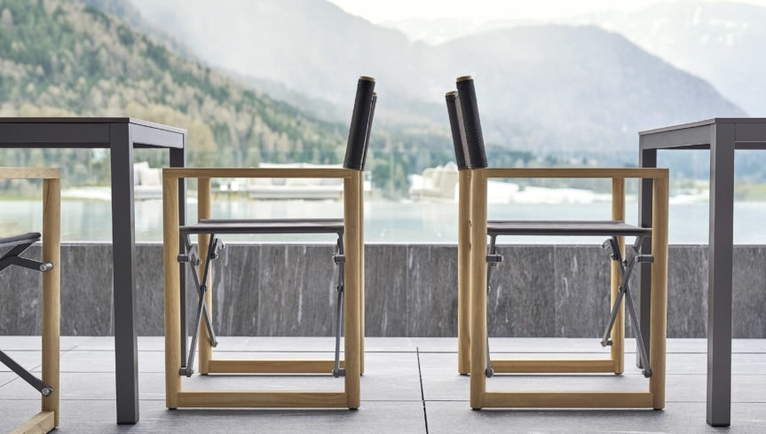 Victor director chair teak, Director chair in teak, foldable and space-saving