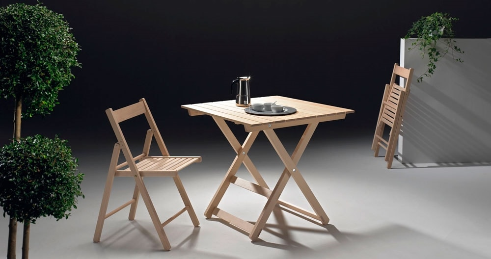 Anni 60, Folding wooden tables, for indoor and outdoor