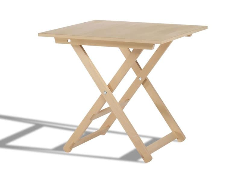 Anni 60, Folding table, in wood, with round top, for outdoor