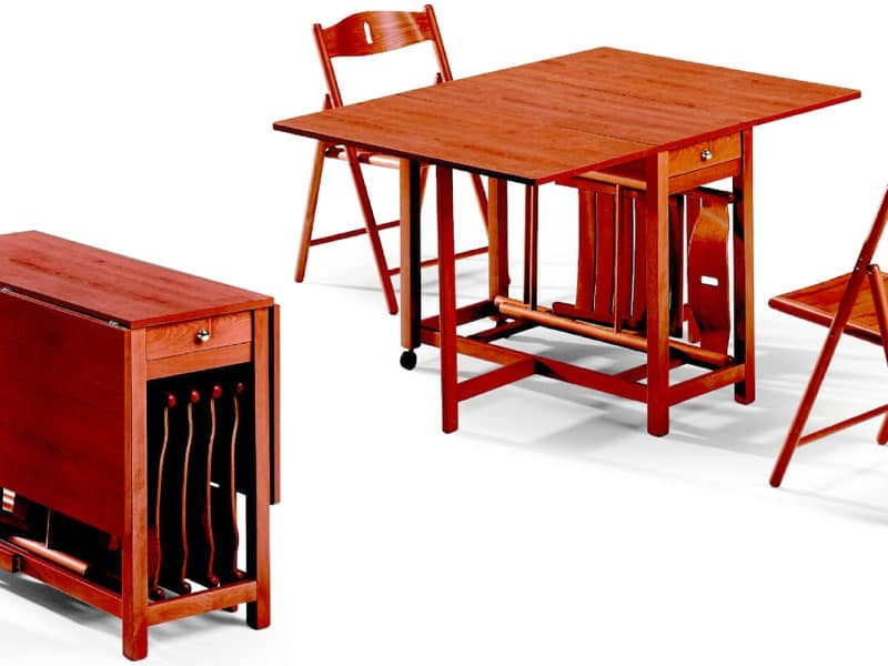Fred table, 189EVF chair, Folding table, with accommodation for chairs, space saving