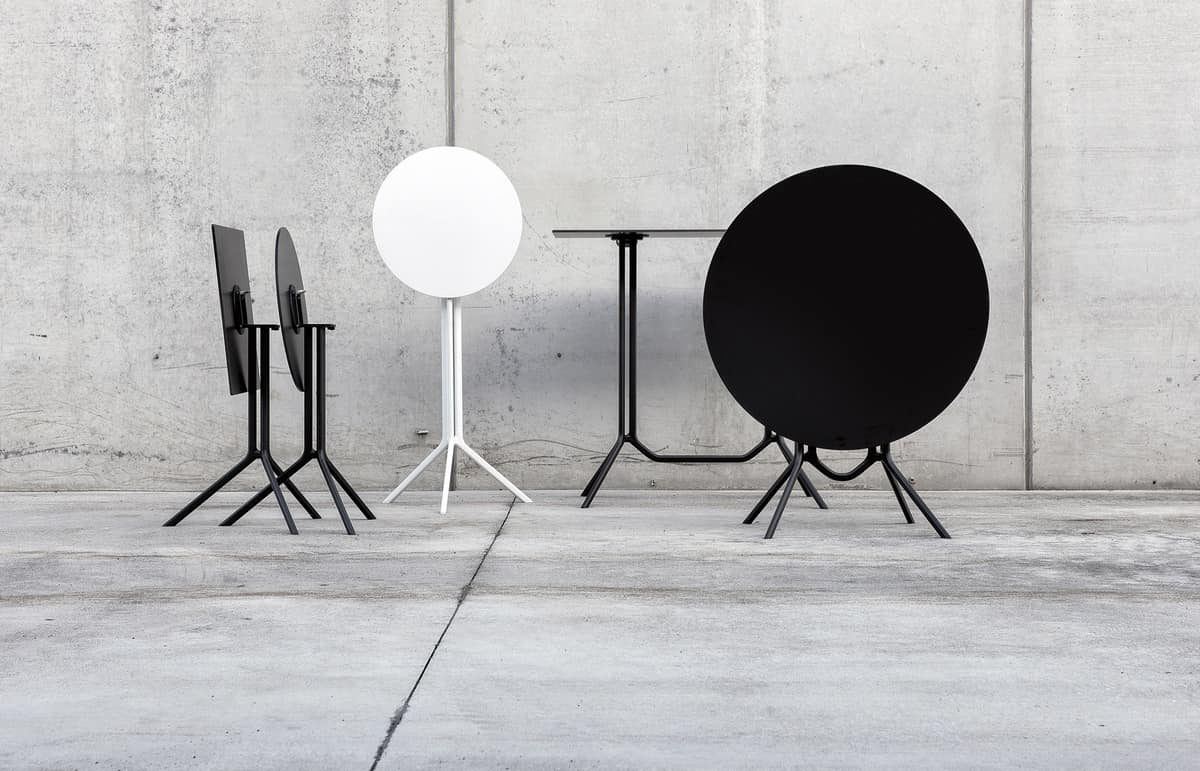 Poule round, Round folding table for bar, with 3-spokes base