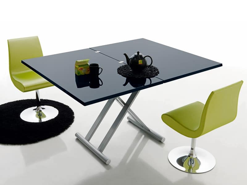 Simple 478, Modern folding table, lacquered wooden top, for bars