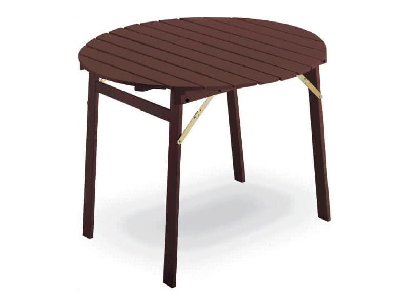 Tavolo P round, Table with folding frame, round top, in beechwood