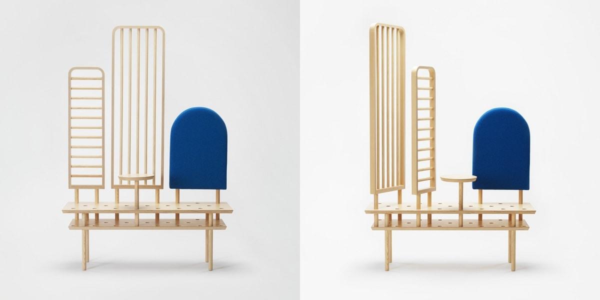 Etta screen, Multifunctional piece of furniture in wood