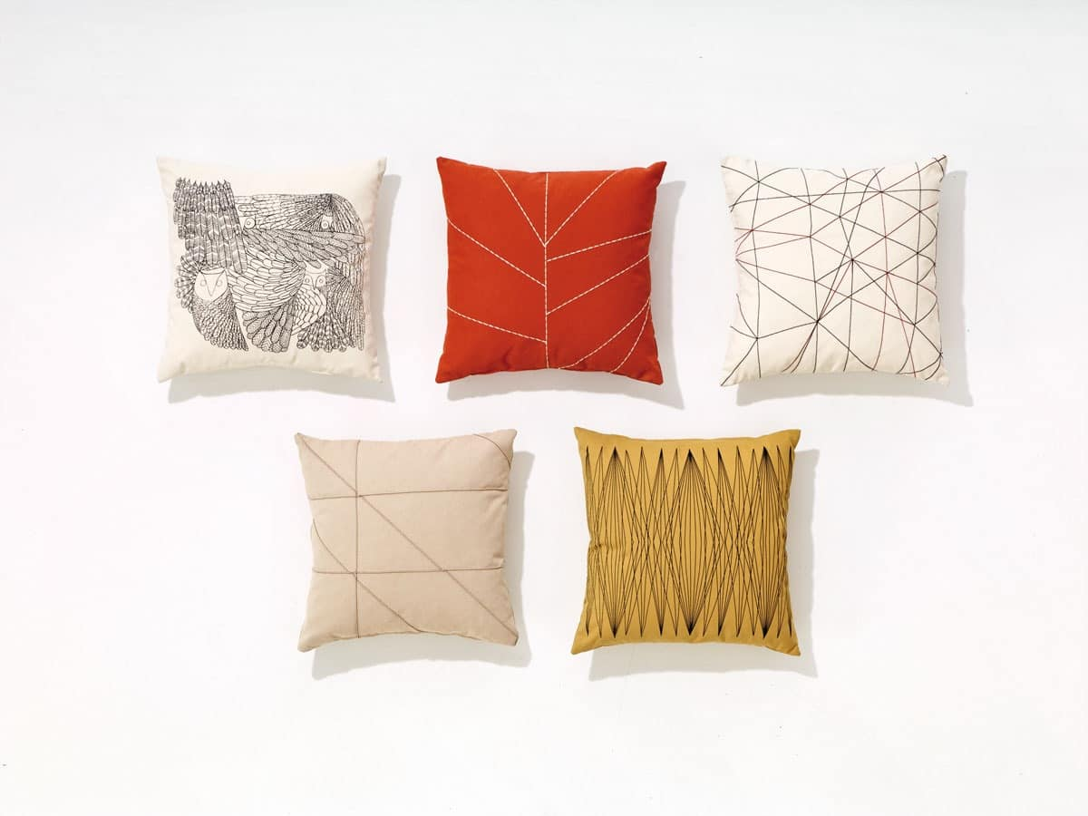 Pillows, Cushions with geometric and naturalistic motives
