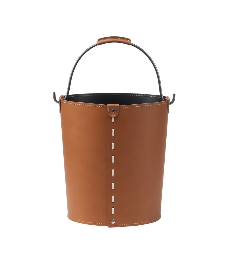 Vintage, Container with bucket shape, in regenerated leather