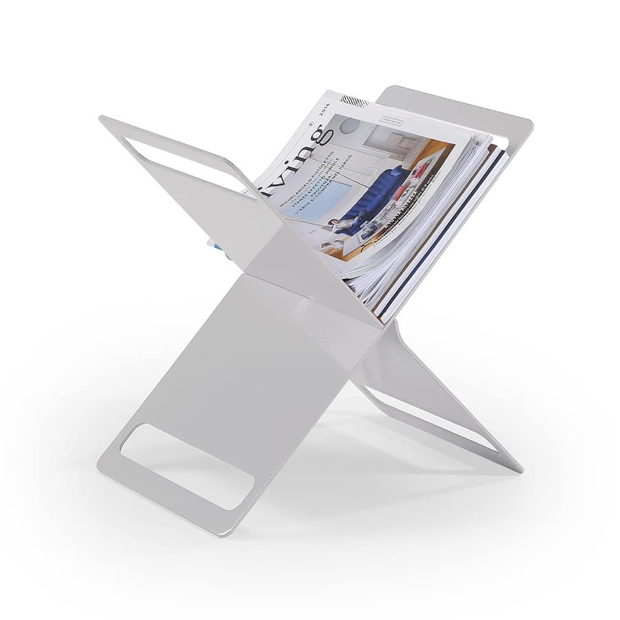 X magazine rack, Magazine rack in painted metal sheet