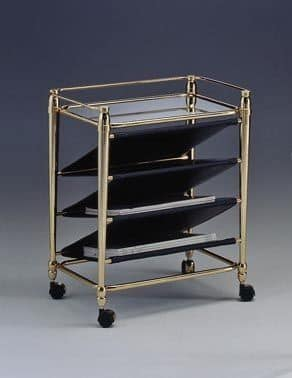 CARTESIO 284, Magazine rack in brass, with wheels, for living room