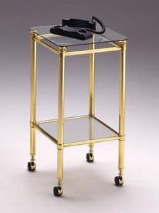 IONICA 682, Phone trolley for home, phone holder cart with glass top
