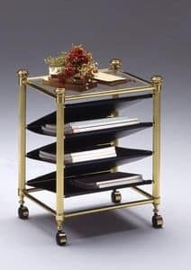 IONICA 684, Magazine rack with wheels, in polished brass, for home