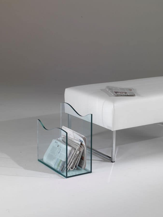Magazine rack, Glass magazine rack, ideal for waiting areas