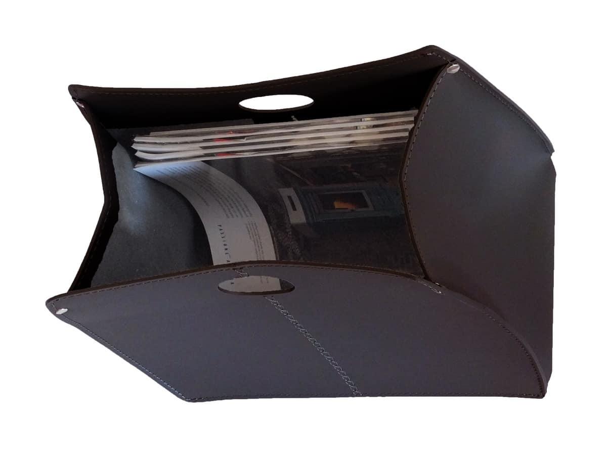 Vanda, Magazine holder with leather handles, handmade