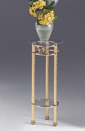 VIVALDI 1094, Brass column with glass top, for home