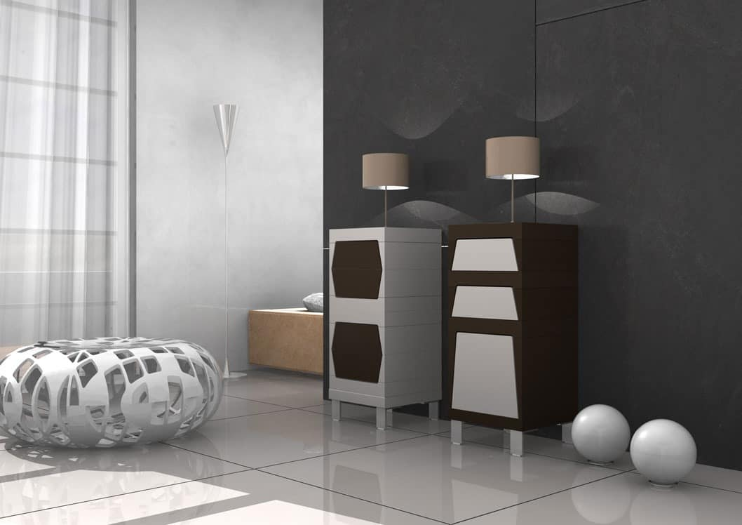Lory, Enclosed cabinet with doors and drawers in laminate
