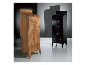 MB31 MB32 Silhouette, Wooden chest of drawers, 1 flap door, inlaid with geometric shapes