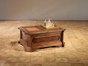 Art. 820 game small table, Coffee table with chessboard and bottle compartment