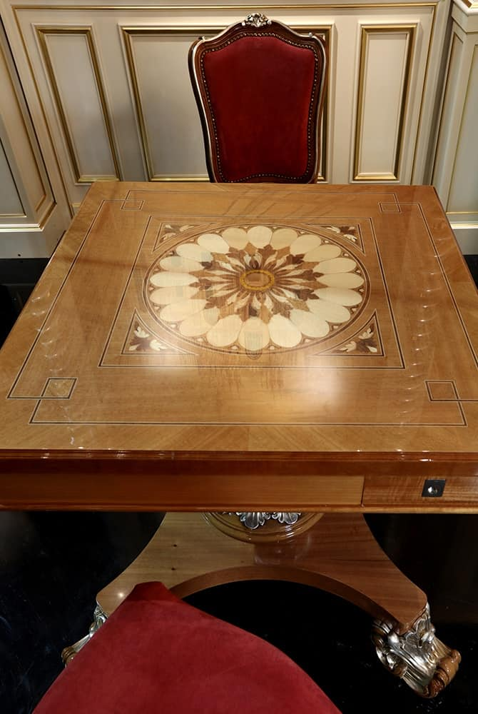 Small Game Table, Game table with inlaid top and carved base