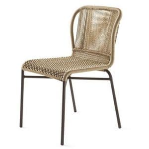 Cricket chair, Woven chair, metal structure, for garden and outdoor bar