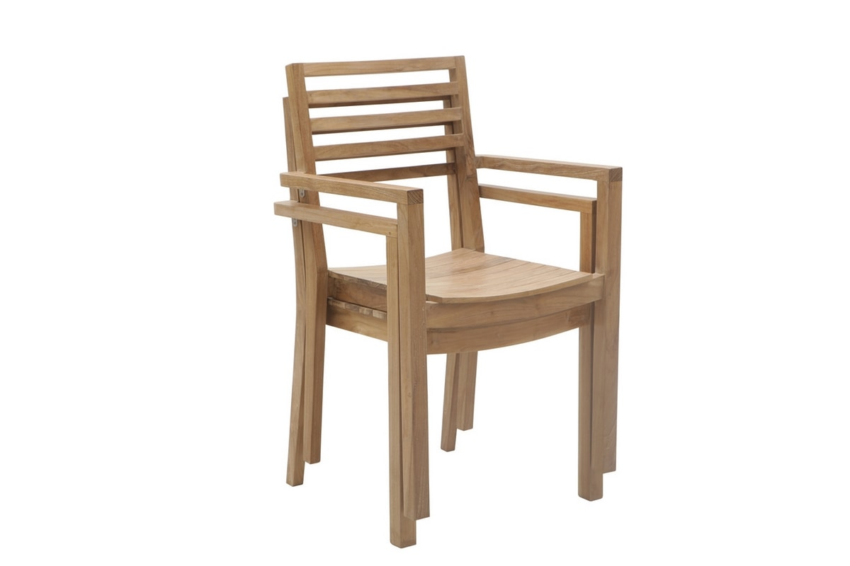 Dehors 0345, Stackable chair in wood, for outdoor use