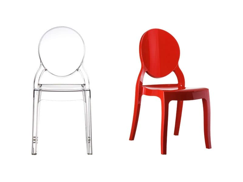 Elizabeth, Plastic chair with oval backrest, for outdoor