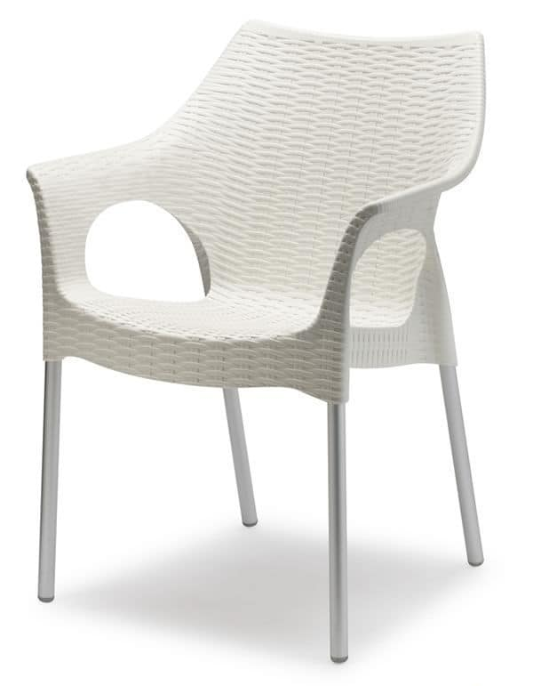 Olimpia, Armchair made of technopolymer and aluminium, stackable