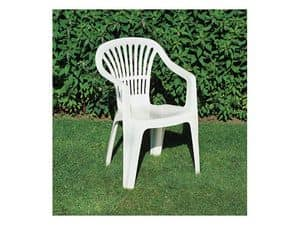 Scilla, Plastic chair with armrests for gardens