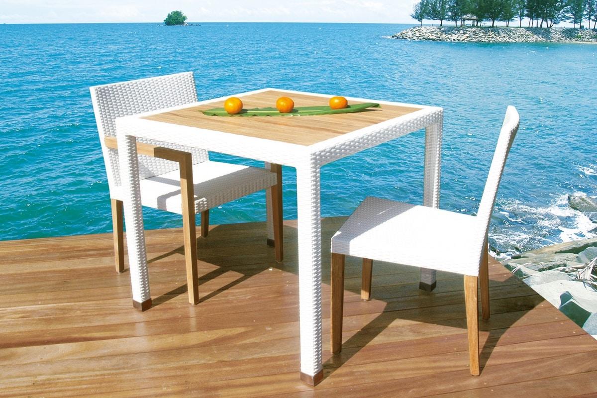 Fiji 4406, Garden table in synthetic wicker and teak