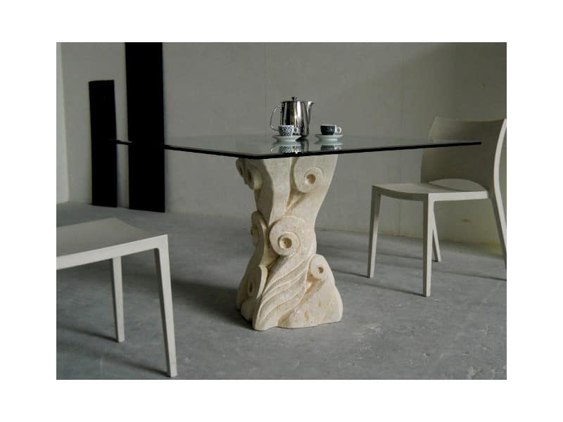 Apollo, Table with base made of hand-carved Vicenza stone