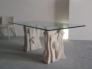 Archivio, Table made of stone with top made of glass, modern style
