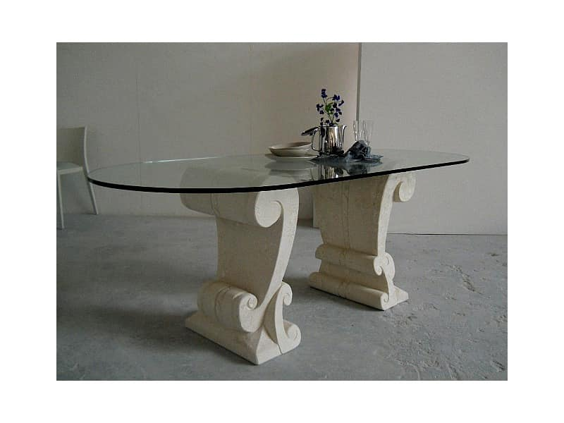 Eliseo, Table with two bases carved in stone