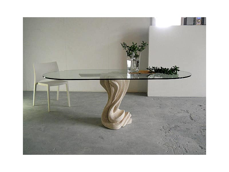 Essenza, Table for home or office, with a stone base