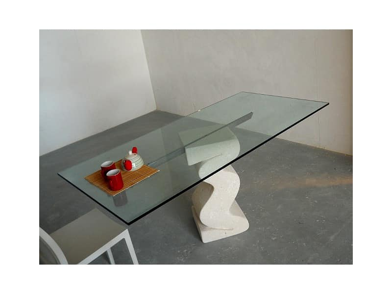 Flex tab, Table with base made of carved stone and top in glass