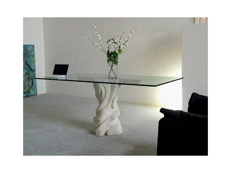 Mezzaluna cherry, Table with glass top and structure made of stone