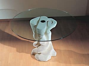 Mezzaluna Flangia, Round table with base in stone, top in glass