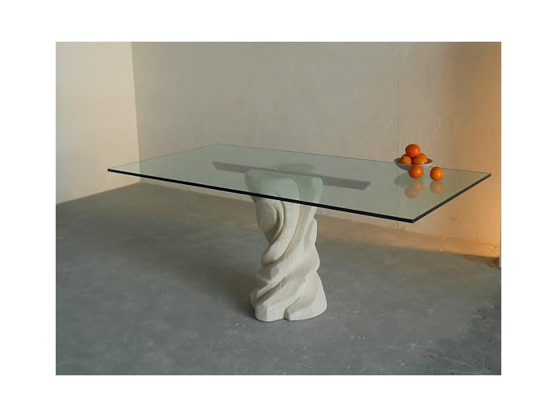 Mezzaluna, Rectangular table with base in stone, top in glass