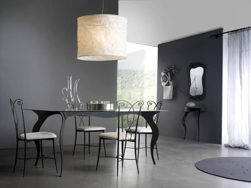 Mirò table, Table with tempered satin glass