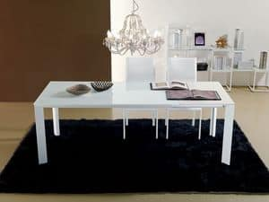 S55 leonardo, Extendable table for dining room, glass top