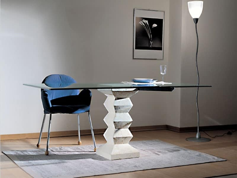 Stone, Table with top in glass, pillar made of stone