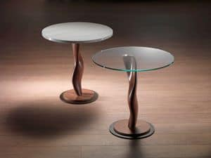TL42 Pistillo small table, Table in solid wood with glass top, for living rooms