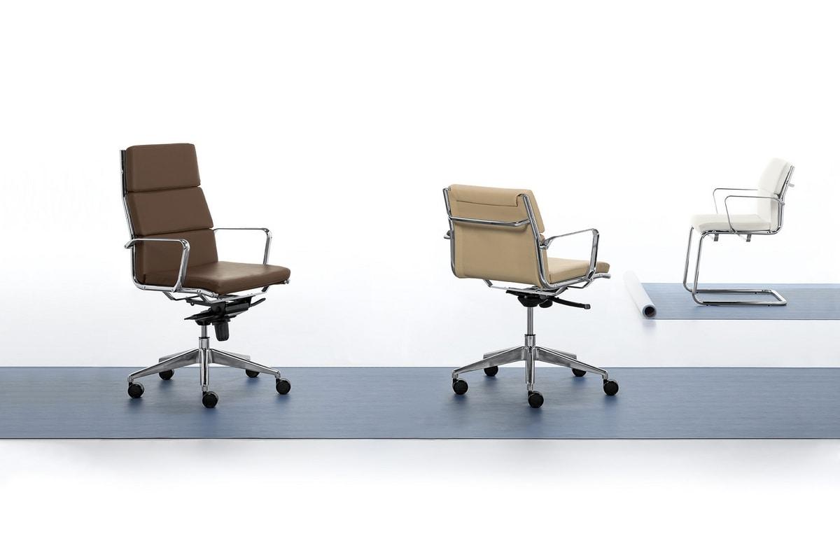 Aalborg Soft 03, Visitor chair, chromed steel tubular, for office