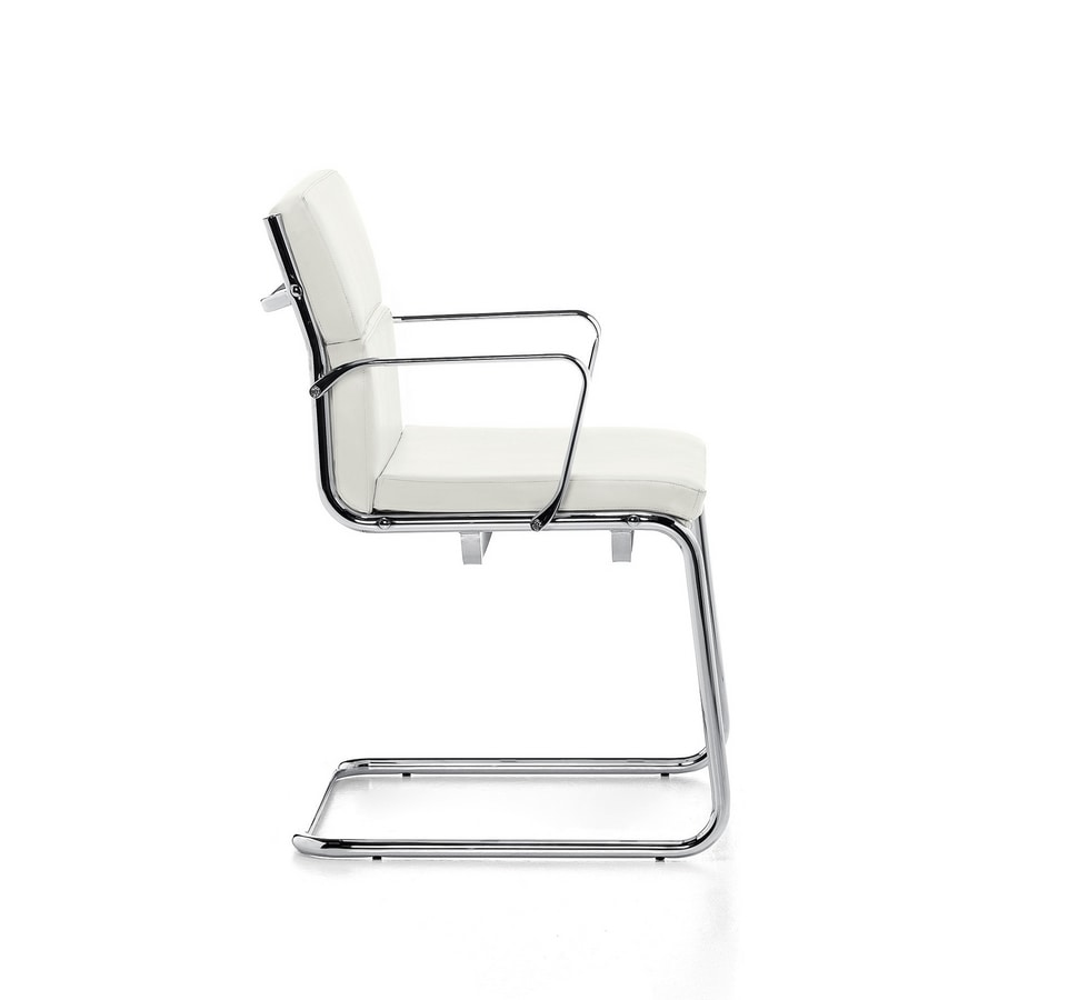 Aalborg Soft 03, Visitor chair, chromed steel tubular, for office