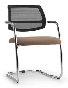 Air One Soft 03, Visitor chair with mesh backrest, for office