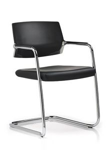 Avangard 1106, Office chair with cantilever base and chromed steel armrests