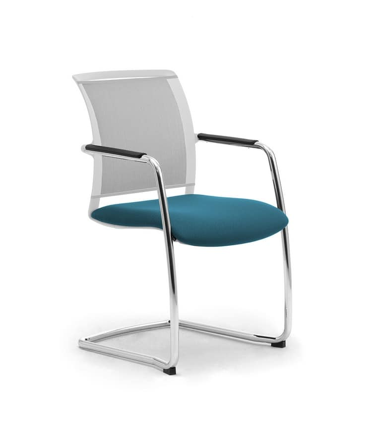 Cometa W relax, Upholstered cantilever chair, with net backrest