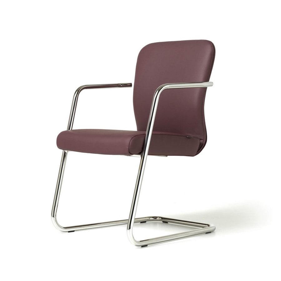 Halfpipe visitor, Chair made in italy, metal base, padded, various versions
