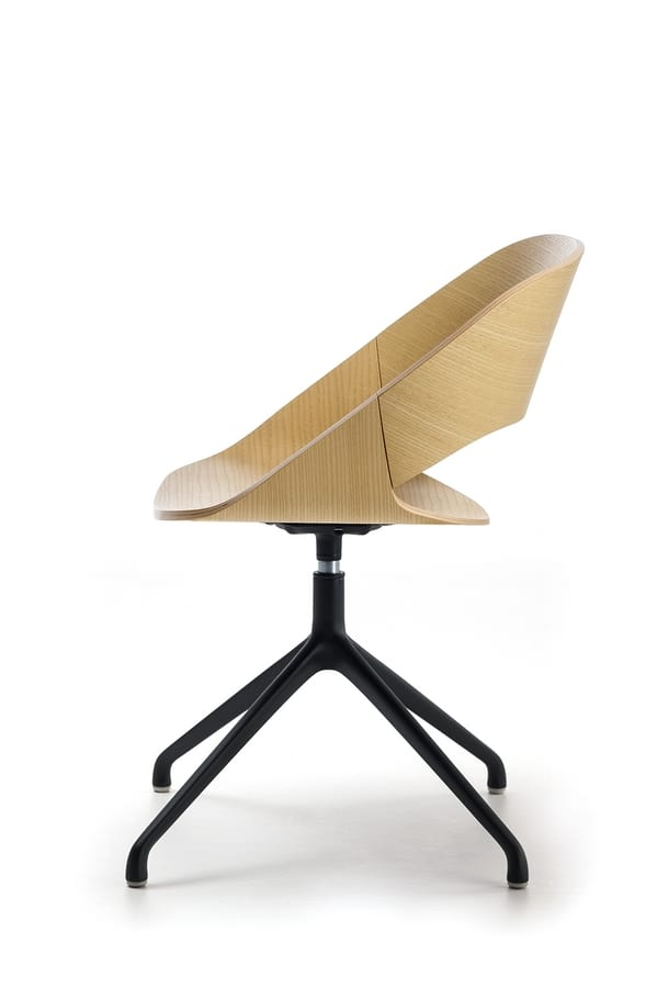 Kabira SP, Swivel chair in painted aluminum, with cushion