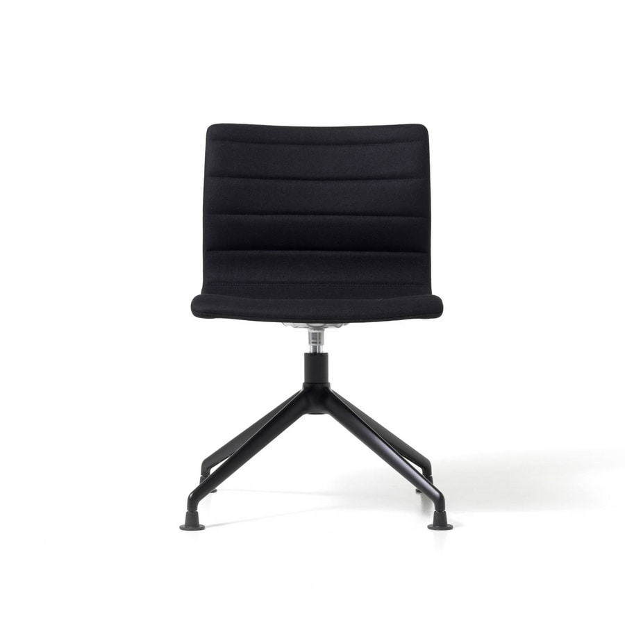 Miss pyramid base, Upholstered chair with swivel seat, aluminum frame